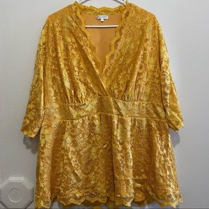 Kiyonna Womens size 3X Linden Lace Top in Marigold